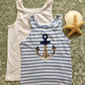 jillians closet Shirts & Tops - GIRLS TANK TOPS BLUE WHITE STRIPE NAUTICAL SPARKLE